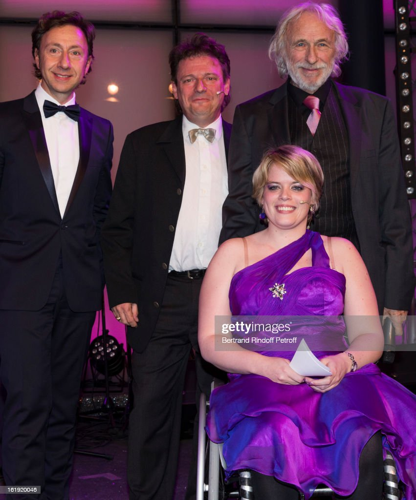 Stephane Bern, French journalist and author, Michel Jeanbourquin, President of Cerebral Valais, Maud Theler, committee member of Cerebral Valais, and Pierre Richard, French actor, attend the 30th edition of 'La Nuit Des Neiges' Charity Gala on February 16, 2013 in Crans-Montana, Switzerland.