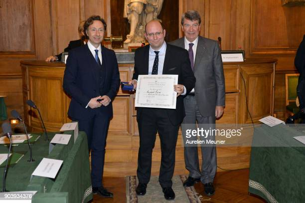 Stephane Bern Raphael Spina and Xavier Darcos pose as they attend the Prix Histoire et Prix Patrimoine 2017 de La Fondation Stephane Bern at Institut...