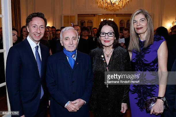 Stephane Bern, singer Charles Aznavour, Nana Mouskouri and Ambassador of Greece in Paris, Maria Theofili attend Nana Mouskouri gives the Greek Prize...