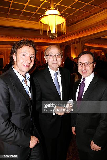 Stephane Bern with his father Louis Bern and his brother Armand Bern attend the 50th Anniversary party of Stephane Bern called Half a century it's...