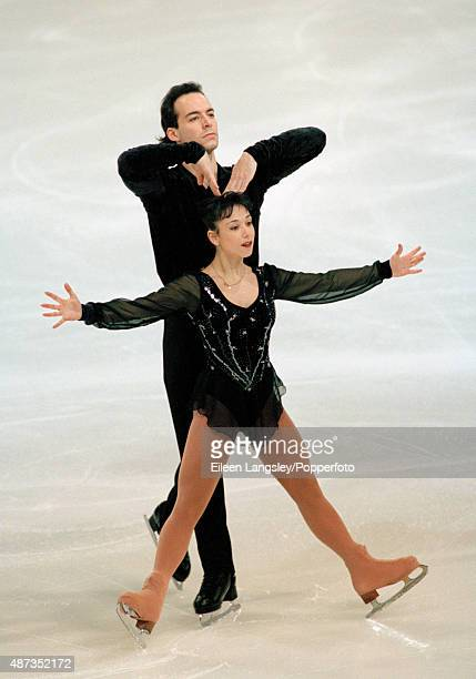 Stephane Bernadis and Sarah Abitbol of France competing in the Paris figure skating event during the Winter Olympic Games in Nagano Japan circa...