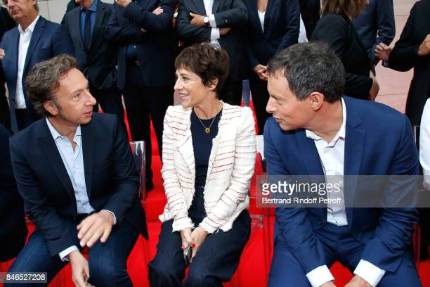 Stephane Berne Elizabeth Martichoux and MarcOlivier Fogiel attend the RTL RTL2 Fun Radio Press Conference to announce their TV Schedule for 2017/2018...