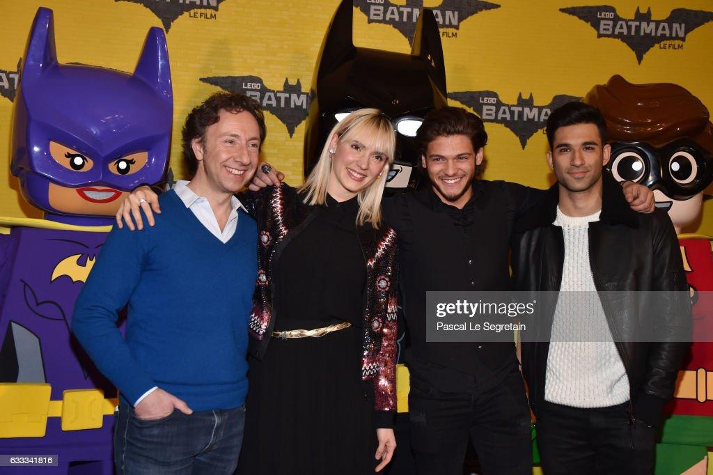 Stephane Bern,Natoo,Rayane Bensetti and War Tek attend 'Lego Batman' Premiere at Le Grand Rex on February 1, 2017 in Paris, France.