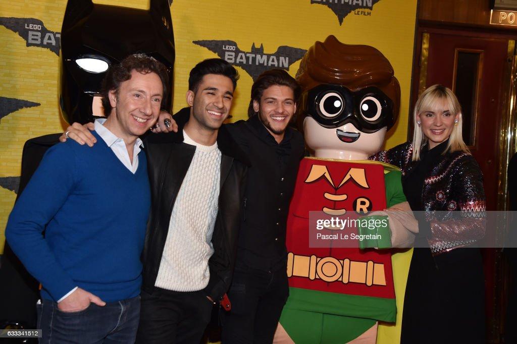 Stephane Bern,War Tek, Rayane Bensetti and Natoo attend 'Lego Batman' Premiere at Le Grand Rex on February 1, 2017 in Paris, France.