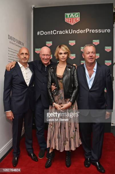 Stephane Bianchi JeanClaude Biver Cara Delevingne and David Yarrow attend the TAG Heuer auction featuring unseen art work from the Don't Crack Under...