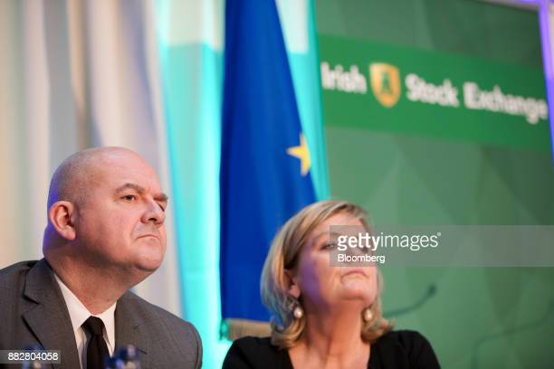 Stephane Boujnah chief executive officer Euronext NV and Deirdre Somers chief executive officer of Irish Stock Exchange Plc right listen during a...