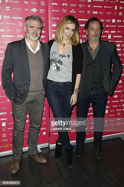 Stephane Brize Julie Gayet and Christophe Aleveque attend 'Courts Devants' Paris Festival at Mk2 Bibliotheque on November 29 2016 in Paris France