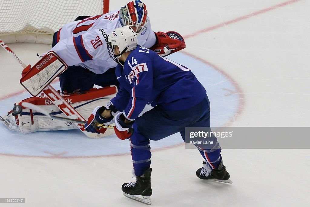 Stephane Da Costa of France scores a penalty shoot of the victory during the 2014 IIHF World Championship between France and Norway at Chizhovka arena on may 17,2014 in Minsk, Belarus.