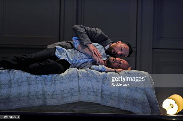 Stephane Degout as King and Gyula Orendt as Gaveston in the Royal Opera's production of Martin Crimp's Lessons in Love and Violence directed by Katie...