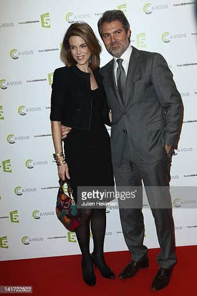 Stephane Delajoux and his wife Julie Andrieu attend 'C a Vous' 500th Edition Celebration on March 22 2012 in Paris France