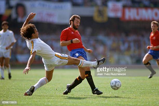 Stephane Demol and Rafael MArtin Vazquez during the 1990 Soccer World Cup match between Spain and Belgium