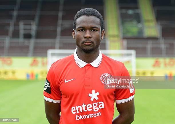 Stephane Eba Eba poses during the team presentation of 1 FSV Mainz 05 II at Bruchwegstadion on July 16 2014 in Mainz Germany