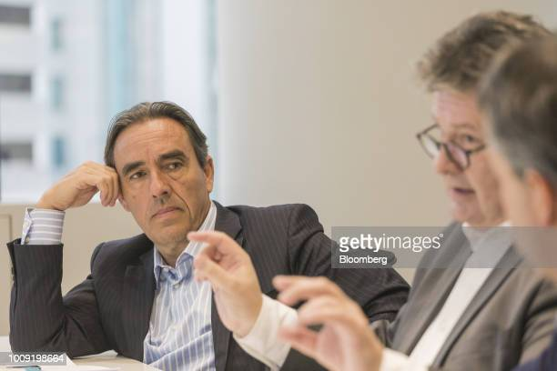 Stephane Engelhard executive director of institutional relations communication and sustainability at Carrefour Brasil listens during an interview in...