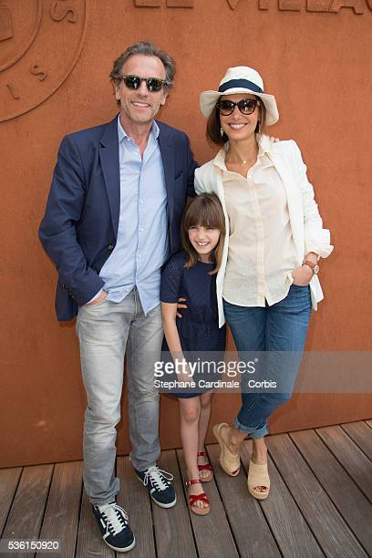 Stephane Freiss his wife Ursula and daughter Bianca attend the 2015 Roland Garros French Tennis Open Day Seven on May 30 2015 in Paris France