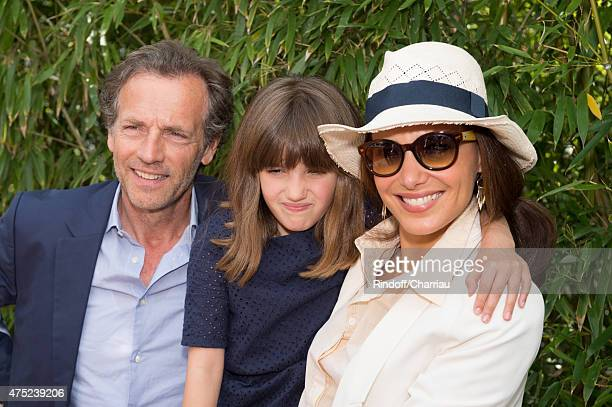 Stephane Freiss his wife Ursula and his daughter Bianca attends the French Open 2015 at Roland Garros on May 30 2015 in Paris France