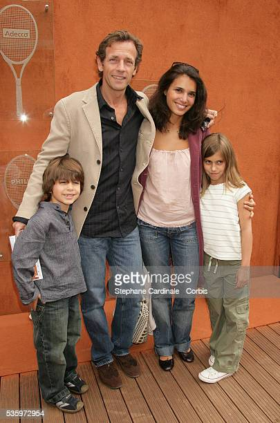 Stephane Freiss with his wife and their children Ruben and Camille visit Roland Garros Village during the 2005 French Open tennis