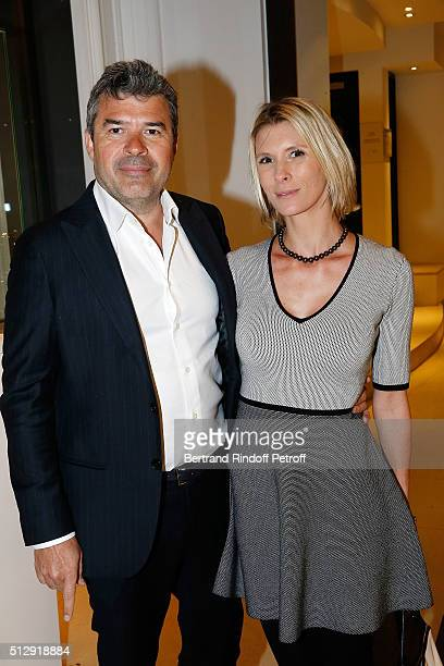 Stephane Gateau and Helene Gateau attend the Dominique Segall Anniversary Party at Cafe Artcurial on February 28 2016 in Paris France