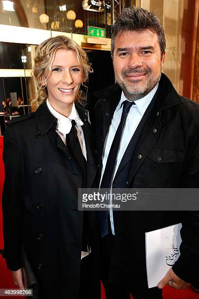 Stephane Gateau and wife Helene Gateau arrive at the 40th Cesar Film Awards 2015 Cocktail at Theatre du Chatelet on February 20 2015 in Paris France