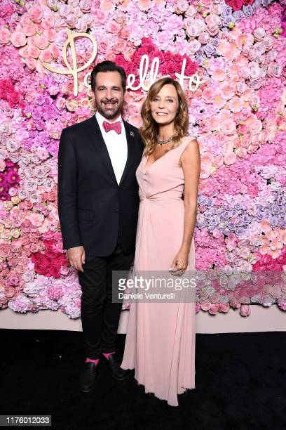 Stephane Gerschel and Eliana Miglio attend Pomellato Pink Party on September 20, 2019 in Milan, Italy.