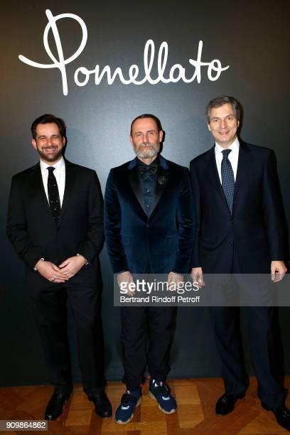 Stephane Gerschel Vincenzo Castaldo and Ambassador Giandomenico Magliano attend the new Pomellato campaign launch with Chiara Ferragni as part of...