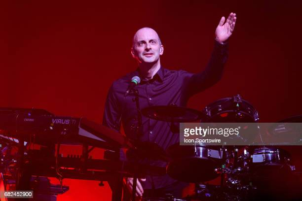Stephane Gervais a backing musician to French electronic musician JeanMichel Jarre acknowledges the fans during JeanMichel Jarre's first stop of his...