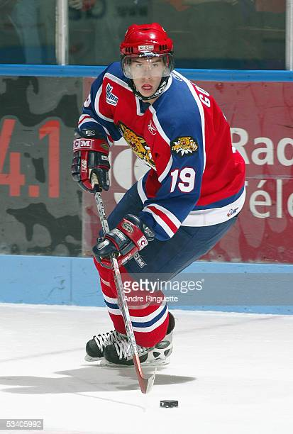 Stephane Goulet of the Moncton Wildcats looks to make a play during the Quebec Major Junior Hockey League game against the Gatineau Olympiques at...