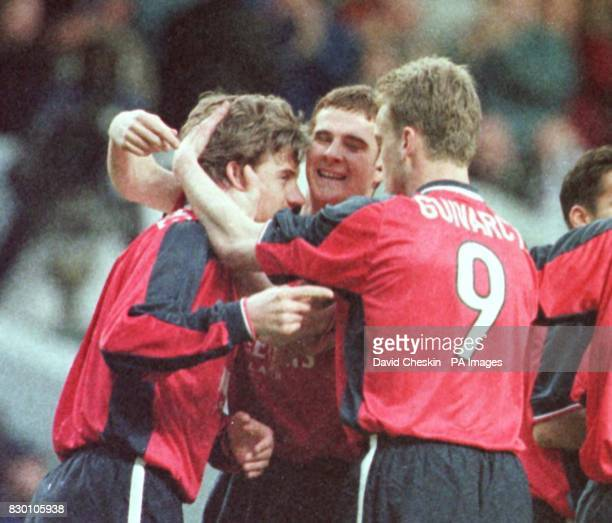 Stephane Guivarch celebrates with his team mate Andrei Kanchelskis after his first goal for Rangers in the Rangers v St Johnstone Scottish League Cup...