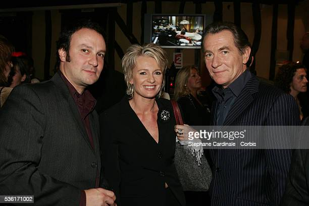 Stephane Harley Sophie Davant and William Leymergie backstage during the 40th anniversary of French television channel France 2