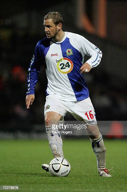 Stephane Henchoz of Blackburn Rovers in action during the Carling Cup third round match between Blackburn Rovers and Chelsea at Ewood Park on October...