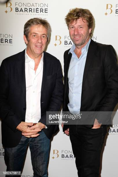 Stephane Hillel and Richard Caillat attend Skorpios au Loin Theater Play Prize 2018 of Fondation Barriere at Theatre Bouffes Parisiens on October 18...
