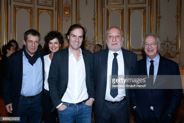 Stephane Hillel Constance Dolle Sebastien Thiery Francois Berleand and Bernard Murat attend Francois Berleand is elevated to the rank of 'Officier de...
