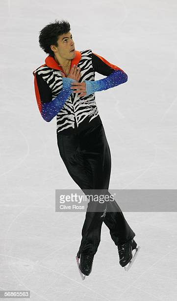 Stephane Lambiel of Switzerland competes in the Men's Free Skate Program Final during Day 6 of the Turin 2006 Winter Olympic Games on February 16...
