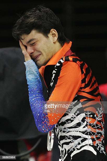 Stephane Lambiel of Switzerland cries after winning the silver medal in Men's Figure Skating following the Men's Free Skate Program Final during Day...