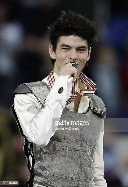 Stephane Lambiel of Switzerland wins gold during the mens free skate at the ISU World Figure Skating Championships at the Lunzhiki Sports Palace on...