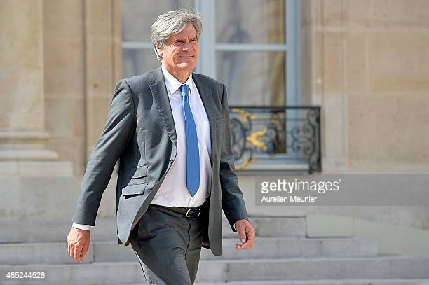 Stephane Le Foll French Minister of Agriculture Food and Forestry Government Spokesman leaves the Elysee Palace after the weekly cabinet meeting on...