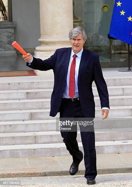 Stephane Le Foll Minister of Agriculture Food and Forestry Government Spokesman leaves after a cabinet meeting at the Elysee Palace on June 25 2014...