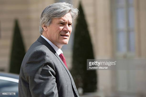 Stephane Le Foll Minister of Agriculture Food and Forestry Government Spokesman as he leaves the Elysee Palace after the weekly cabinet meeting on...
