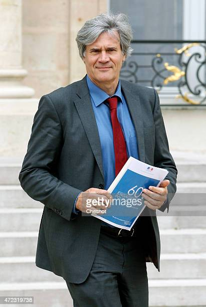 Stephane Le Foll Minister of Agriculture Food and Forestry Government Spokesman leaves the Elysee Palace after the weekly cabinet meeting on May 06...