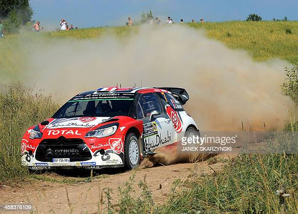 Stephane Lefebvre and his codriver Gabin Moreau of France drive their Citroen Ds3 WRC during the special stage at the Rally Poland in Stanczyki...