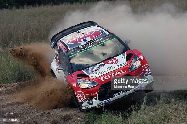 Stephane Lefebvre of France and Gabin Moreau of France compete in their Abu Dhabi Total WRT Citroen DS3 WRC during Day One of the WRC Poland on July...