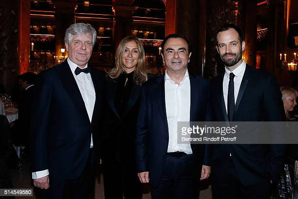Stephane Lissner Carole Ghosn Carlos Ghosn and Benjamin Millepieds attend the Arop Charity Gala At the Opera Garnier under the auspices of Madam...