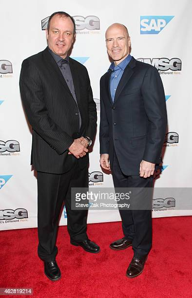 Stephane Matteau and Mark Messier attend MSG Networks Original Programming Party at Madison Square Garden on February 5 2015 in New York City