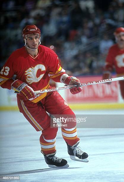 Stephane Matteau of the Calgary Flames skates on the ice during an NHL game against the New York Islanders on November 10 1990 at the Nassau Coliseum...