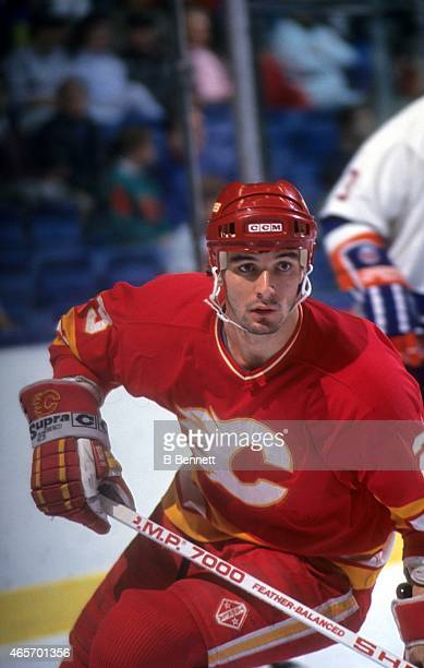 Stephane Matteau of the Calgary Flames skates on the ice during an NHL preseason game against the New York Islanders in September 1991 at the Nassau...