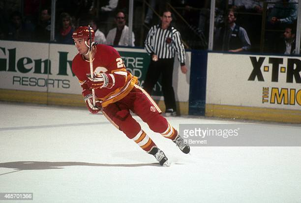 Stephane Matteau of the Calgary Flames skates on the ice during an NHL game against the Los Angeles Kings on February 12 1991 at the Great Western...