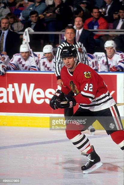 Stephane Matteau of the Chicago Blackhawks skates on the ice during an NHL game against the New York Rangers on March 18 1994 at the Madison Square...