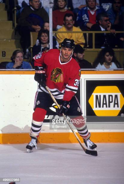 Stephane Matteau of the Chicago Blackhawks skates on the ice during an NHL game against the Toronto Maple Leafs on November 13 1993 at the Maple Leaf...