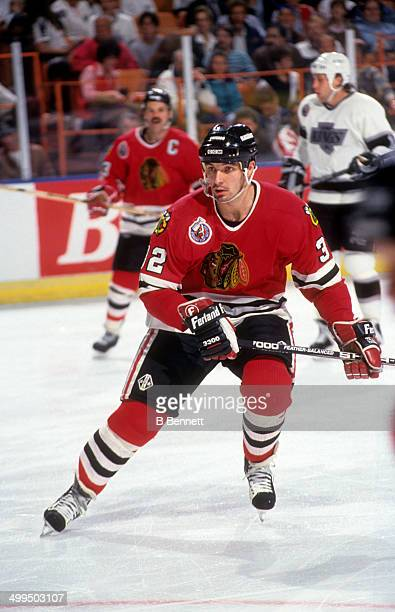 Stephane Matteau of the Chicago Blackhawks skates on the ice during an NHL game against the Los Angeles Kings on January 30 1993 at the Great Western...