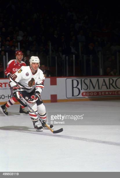 Stephane Matteau of the Chicago Blackhawks skates on the ice during an NHL game against the Washington Capitals on January 21 1993 at the Chicago...