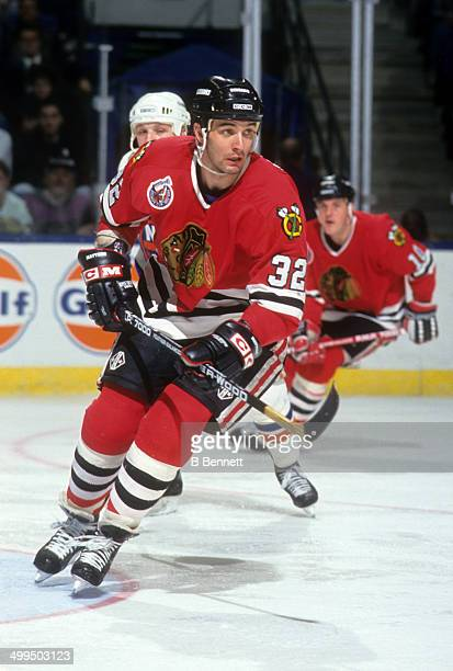 Stephane Matteau of the Chicago Blackhawks skates on the ice during an NHL game against the New York Islanders on April 8 1993 at the Nassau Coliseum...